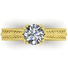1.06 CTW Solitaite Certified VS/SI Diamond Ring 14K Art Deco Gold - REF-286W7H - 38537