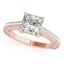 0.8 CTW Certified VS/SI Princess Diamond Solitaire Ring 18K Rose Gold - REF-134W4H - 27640