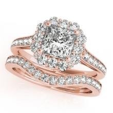 1.75 CTW Certified VS/SI Princess Diamond 2Pc Set Solitaire Halo 14K Gold - REF-455X8Y - 31368