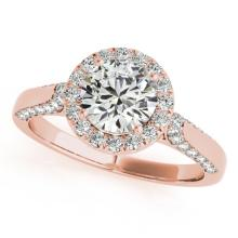1.25 CTW Certified VS/SI Diamond Solitaire Halo Ring 18K Rose Gold - REF-222Y9X - 26381