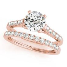 1.45 CTW Certified VS/SI Diamond Solitaire 2Pc Wedding Set 14K Gold - REF-373W8H - 31695