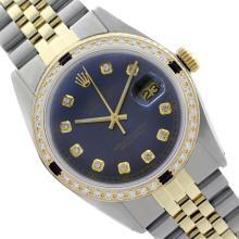 Rolex Men's Two Tone 14K Gold/SS, QuickSet, Diam Dial & Diam/Sapphire Bezel - REF-474K5R