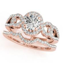 1.55 CTW Certified VS/SI Diamond 2Pc Wedding Set Solitaire Halo 14K Gold - REF-389X3Y - 31083