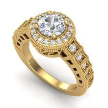 1.53 CTW VS/SI Diamond Art Deco Ring 18K Gold - REF-454X5Y - 36961