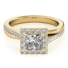 1.5 CTW Certified VS/SI Princess Diamond Solitaire Halo Ring 18K Gold - REF-399K3R - 27203
