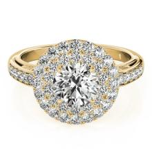 2.25 CTW Certified VS/SI Diamond Solitaire Halo Ring 18K Yellow Gold - REF-481Y5X - 26882