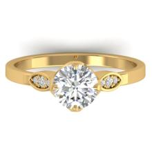 1.05 CTW Certified VS/SI Diamond Solitaire Art Deco Ring 14K Gold - REF-278X7Y - 30563