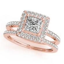 1.21 CTW Certified VS/SI Princess Diamond 2Pc Set Solitaire Halo 14K Gold - REF-236K7R - 31353