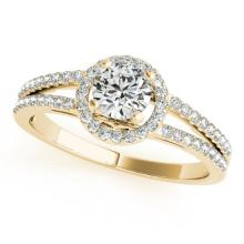 0.75 CTW Certified VS/SI Diamond Solitaire Halo Ring 18K Yellow Gold - REF-118Y9X - 26678