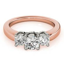 1.33 CTW Certified VS/SI Diamond 3 Stone Ring 18K Rose Gold - REF-262X9Y - 28069