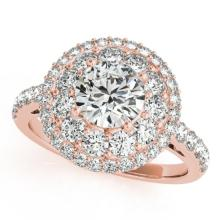 1.5 CTW Certified VS/SI Diamond Solitaire Halo Ring 18K Rose Gold - REF-180Y2X - 26492