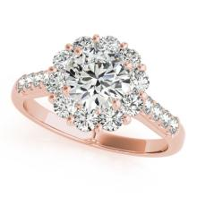 1.75 CTW Certified VS/SI Diamond Solitaire Halo Ring 18K Rose Gold - REF-244M5F - 26285