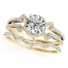 1.01 CTW Certified VS/SI Diamond Solitaire 2Pc Wedding Set 14K Gold - REF-140K2R - 31999