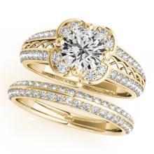 1.21 CTW Certified VS/SI Diamond 2Pc Wedding Set Solitaire Halo 14K Gold - REF-162W2H - 31237