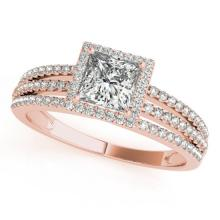 1.2 CTW Certified VS/SI Princess Diamond Solitaire Halo Ring 18K Gold - REF-241N5A - 27181