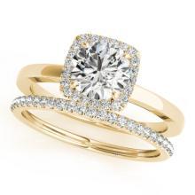 0.83 CTW Certified VS/SI Diamond 2Pc Wedding Set Solitaire Halo 14K Gold - REF-124F4M - 30731