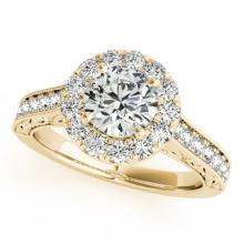 2.22 CTW Certified VS/SI Diamond Solitaire Halo Ring 18K Yellow Gold - REF-613F8M - 26517