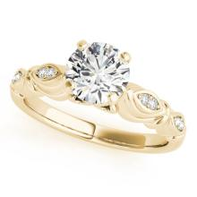 0.6 CTW Certified VS/SI Diamond Solitaire Antique Ring 18K Yellow Gold - REF-115M3F - 27347