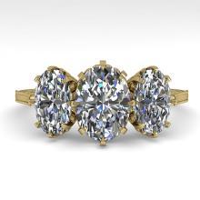 2 CTW Solitaire Past Present Future VS/SI Oval Cut Diamond Ring Gold - REF-414W2H - 35782