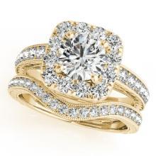 1.3 CTW Certified VS/SI Diamond 2Pc Wedding Set Solitaire Halo 14K Gold - REF-161M3F - 30977