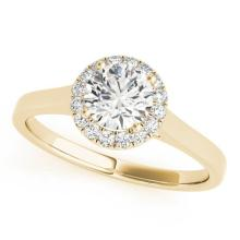 0.85 CTW Certified VS/SI Diamond Solitaire Halo Ring 18K Yellow Gold - REF-207W6H - 26592