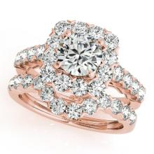 3.23 CTW Certified VS/SI Diamond 2Pc Wedding Set Solitaire Halo 14K Gold - REF-306N2A - 30670
