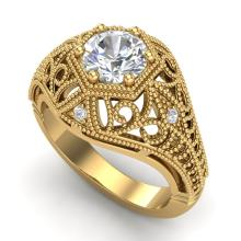 1.07 CTW VS/SI Diamond Solitaire Art Deco Ring 18K Gold - REF-345Y2X - 36919