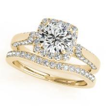 1.37 CTW Certified VS/SI Diamond 2Pc Wedding Set Solitaire Halo 14K Gold - REF-156W9H - 30707