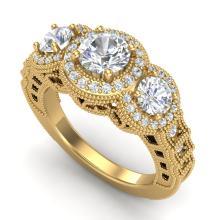 2.16 CTW VS/SI Diamond Solitaire Art Deco 3 Stone Ring 18K Gold - REF-361H8W - 36970