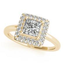 1.05 CTW Certified VS/SI Princess Diamond Solitaire Halo Ring 18K Gold - REF-238K4R - 27164