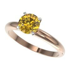 1.27 CTW Certified Intense Yellow Si Diamond Solitaire Ring Gold - REF-179W3H - 36436