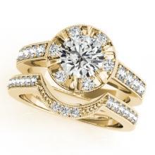 2.35 CTW Certified VS/SI Diamond 2Pc Wedding Set Solitaire Halo 14K Gold - REF-488X7Y - 31294