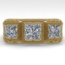 2 CTW Past Present Future VS/SI Princess Diamond Ring 18K Deco Gold - REF-481H7W - 36070