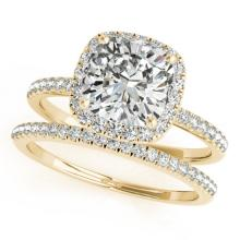 1.51 CTW Certified VS/SI Cushion Diamond 2Pc Set Solitaire Halo 14K Gold - REF-441A6N - 31405