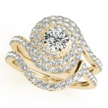 1.88 CTW Certified VS/SI Diamond 2Pc Wedding Set Solitaire Halo 14K Gold - REF-241A3N - 31300
