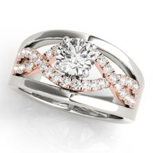1.3 CTW Certified VS/SI Diamond Solitaire Ring 18K Two Tone Gold - REF-414N2A - 27920