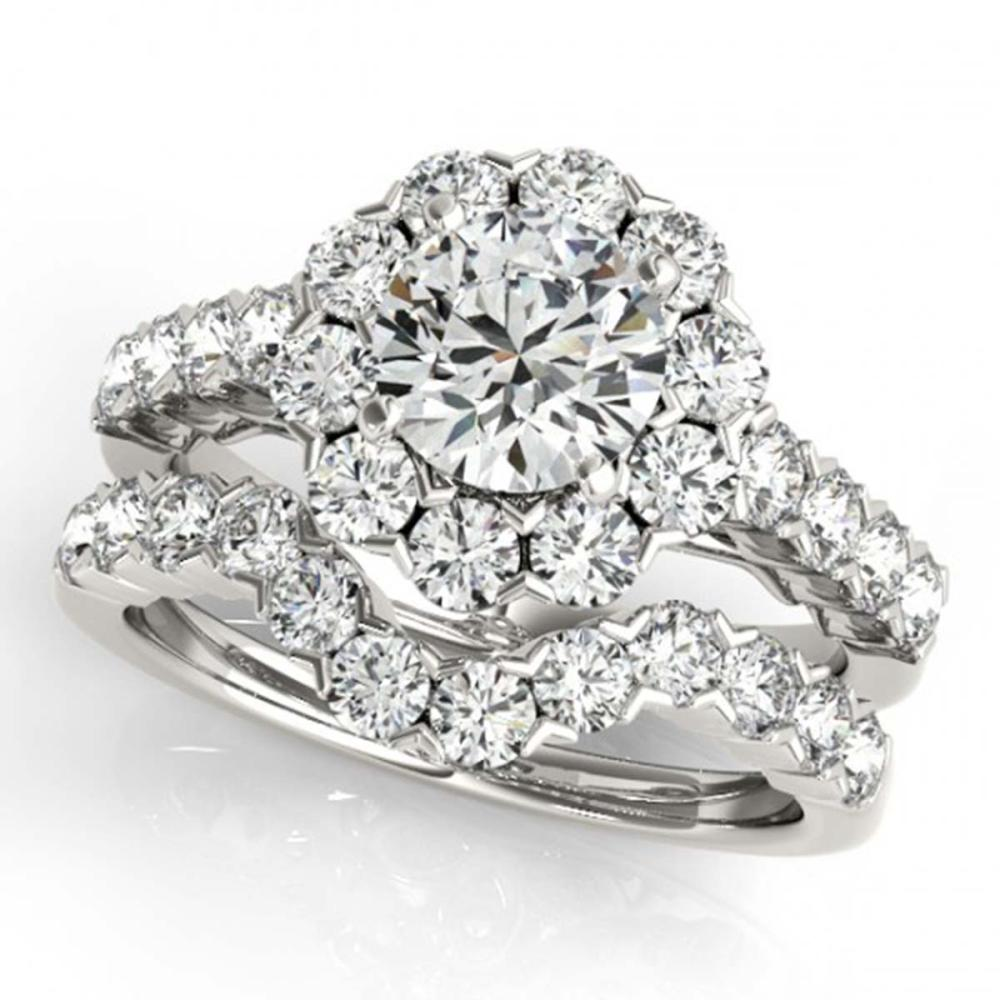 Lot 6006: 4.01 ctw VS/SI Diamond 2pc Wedding Set Halo 14K White Gold - REF-613F6N - SKU:30825