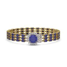 Lot 6002: 31.91 ctw Sapphire & Diamond Bracelet 14K Yellow Gold - REF-289A3V - SKU:45886