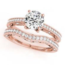 Lot 6010: 1.27 ctw VS/SI Diamond 2pc Wedding Set 14K Rose Gold - REF-168H2M - SKU:31524