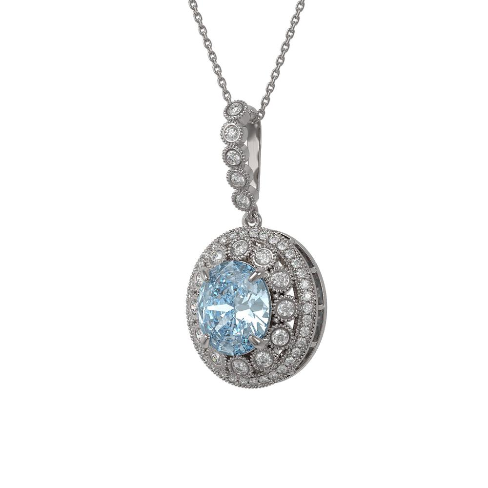 Lot 6019: 6.81 ctw Aquamarine & Diamond Necklace 14K White Gold - REF-228X2R - SKU:43829