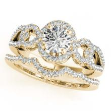 Lot 6031: 1.55 ctw VS/SI Diamond 2pc Wedding Set Halo 14K Yellow Gold - REF-291W8H - SKU:31084