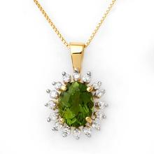 Lot 6036: 3.55 ctw Green Tourmaline & Diamond Necklace 10K Yellow Gold - REF-73F6N - SKU:10795
