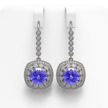 Lot 6047: 13.4 ctw Tanzanite & Diamond Earrings 14K White Gold - REF-420W5H - SKU:43961