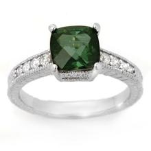 Lot 6057: 2.25 ctw Green Tourmaline & Diamond Ring 14K White Gold - REF-64A9V - SKU:11769