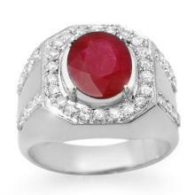 Lot 6065: 4.75 ctw Ruby & Diamond Men's Ring 10K White Gold - REF-123R6K - SKU:14500