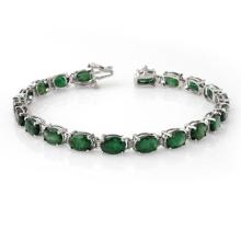 Lot 6071: 16.25 ctw Emerald Bracelet 10K White Gold - REF-94M5F - SKU:13872