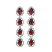 Lot 6070: 8.2 ctw Garnet & Diamond Halo Earrings White 10K White Gold - REF-135K3W - SKU:41183