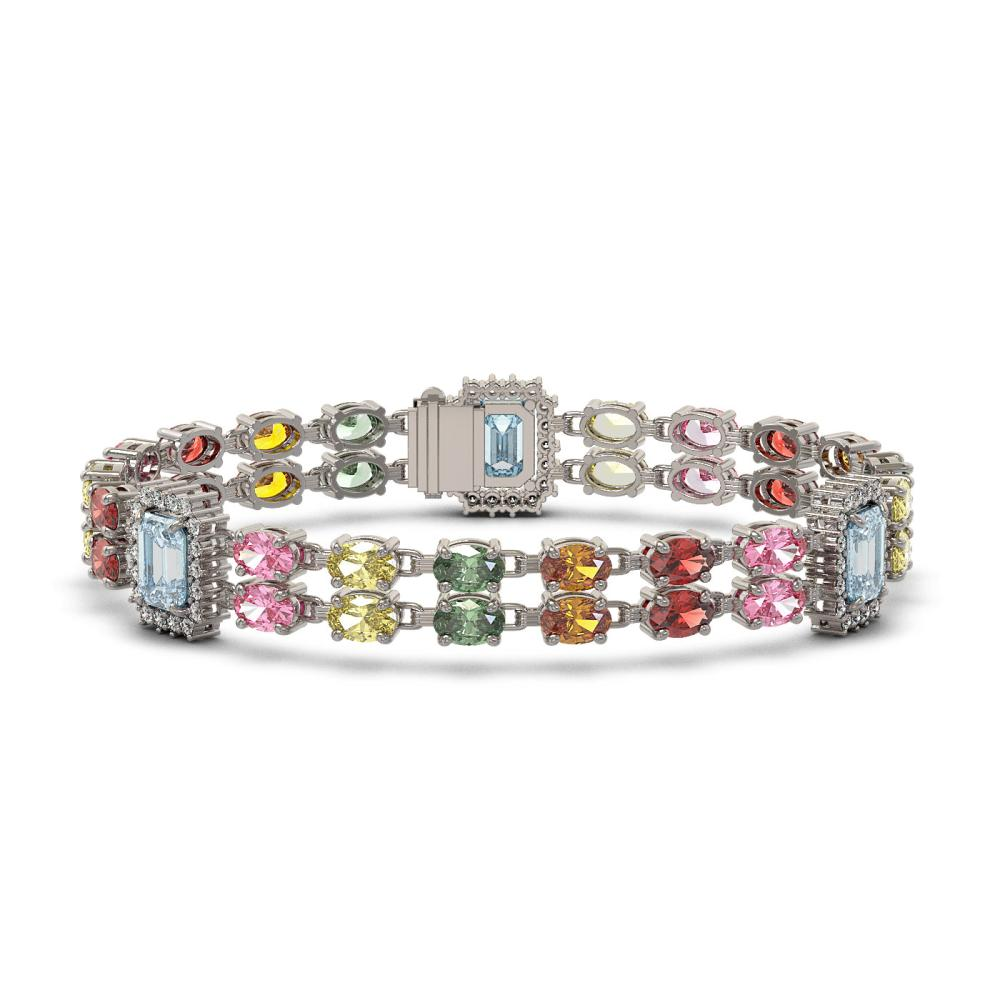 19.38 ctw Sapphire & Diamond Bracelet 14K White Gold - REF-288H4M - SKU:45071