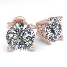 Lot 6076: 1.0 ctw VS/SI Diamond Stud Earrings 18K Rose Gold - REF-142W5H - SKU:32261