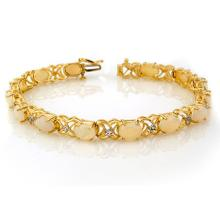 Lot 6081: 7.05 ctw Opal & Diamond Bracelet 10K Yellow Gold - REF-81W8H - SKU:10384